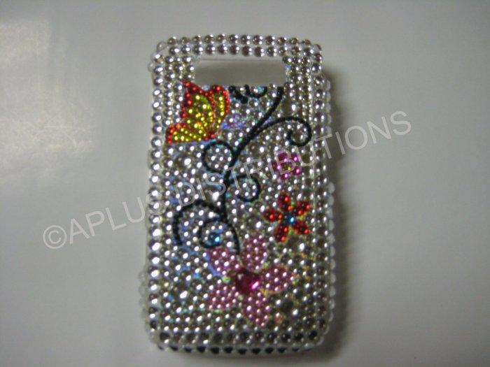 New Butterflies w/Flower Design Crystal Bling Diamond Case For Blackberry 8900 - (0057)