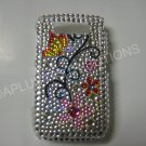 New Butterflies w/Flower Design Crystal Bling Diamond Case For Blackberry 8900 - (0057)