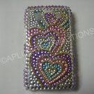 New Pink Triple Heart Series  Bling Diamond Case For Blackberry 9700 - (0089)