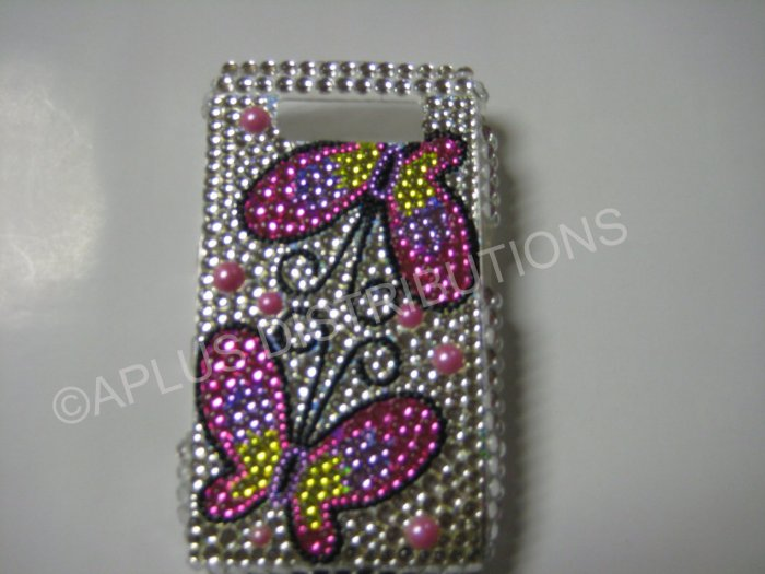 New Pink Mirror Butterfly Bling Diamond Case For Blackberry 8900 - (0059)