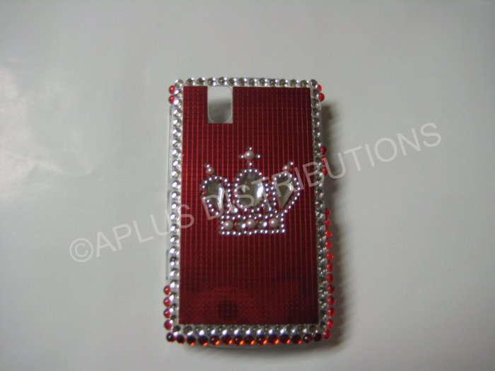 New Red Crown On Squares Bling Diamond Case For Blackberry 9630 - (0053)
