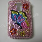 New Pink Butterfly Side W/Ruby Flower Bling Diamond Case For Blackberry 9000 - (0051)