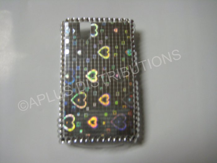 New Silver Metallic Hearts Bling Diamond Case For Blackberry 9630 - (0077)