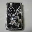 New Black Hawaiian Hibiscus Bling Diamond Case For Blackberry 9630 - (0071)