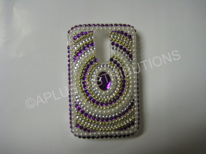 New Purple Diamond In Circle/Pearls Bling Diamond Case For Blackberry 9000 - (0067)