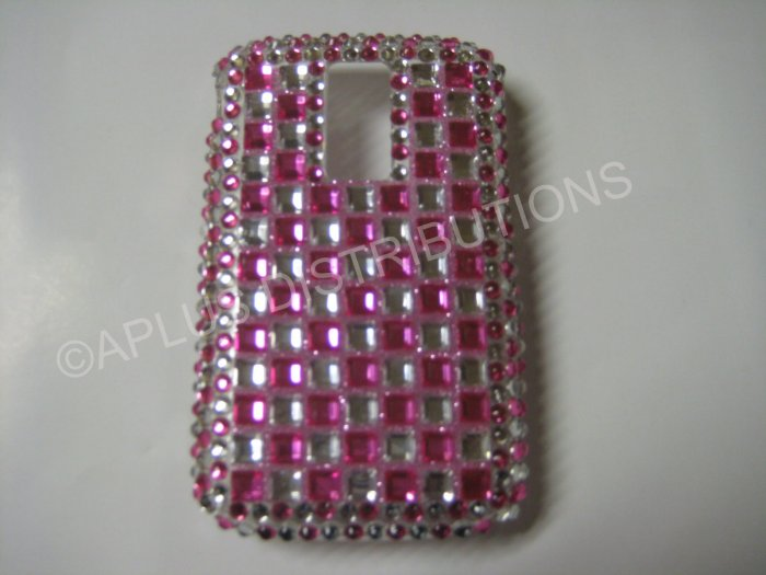 New Hot Pink Retro Checkered Pattern Bling Diamond Case For Blackberry 9000 - (0069)