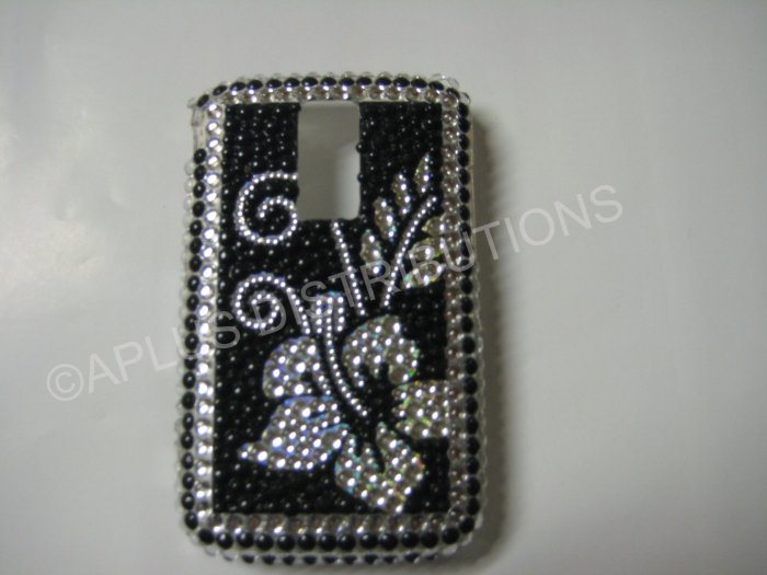 New Black Hawaiian Hibiscus Bling Diamond Case For Blackberry 9000 - (0071)