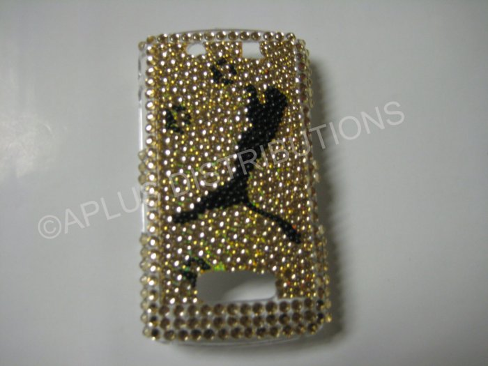 New Gold Jaguar Jumping Bling Diamond Case For Blackberry 9500 - (0078)