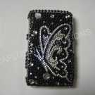 New Black Butterfly Series Sideview Bling Diamond Case For Blackberry 8520 - (0024)
