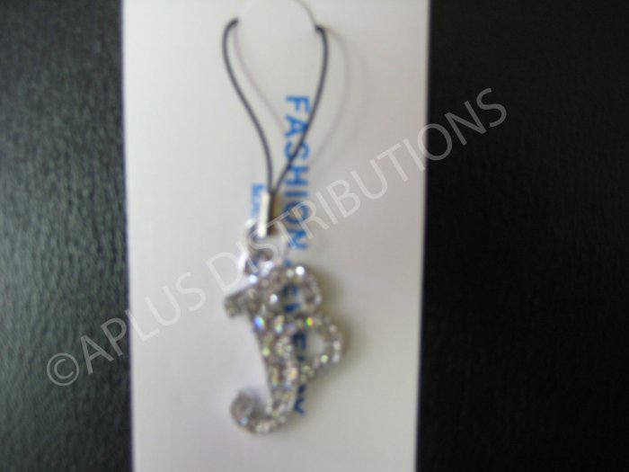 NEW Crystal Cell Phone Charm-  Big Letter �B� Cursive
