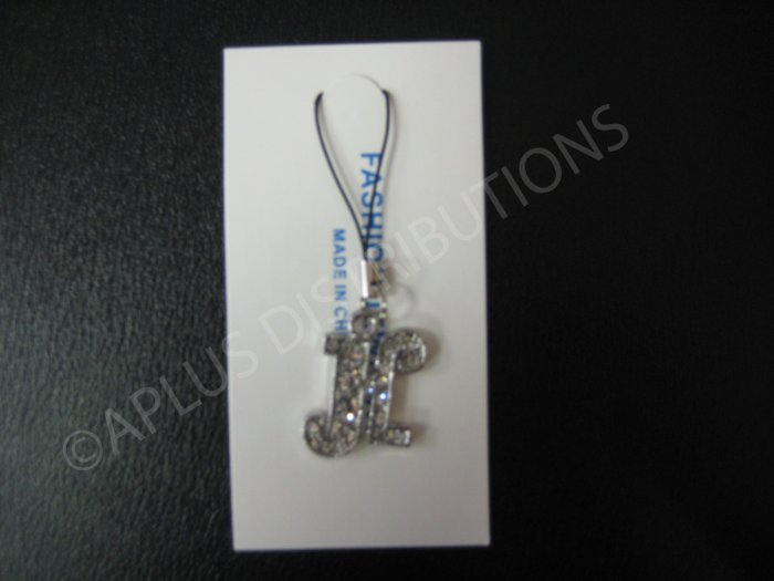 NEW Crystal Cell Phone Charm-  Big Letter �H� Cursive