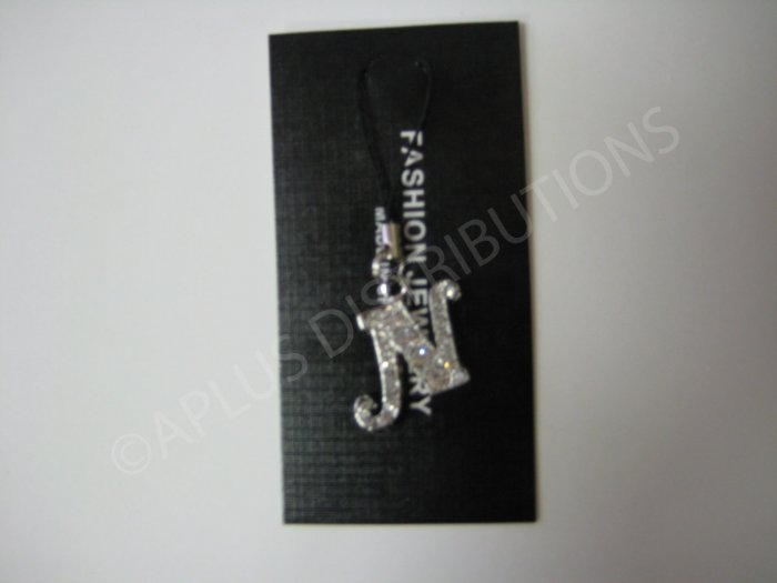 NEW Crystal Cell Phone Charm-  Big Letter �N� Cursive