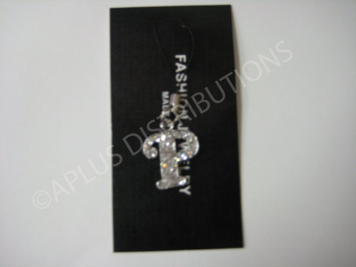 NEW Crystal Cell Phone Charm-  Big Letter �P� Cursive