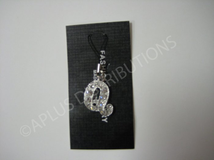 NEW Crystal Cell Phone Charm-  Big Letter �Q� Cursive