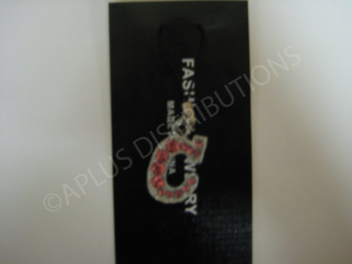 NEW Crystal Cell Phone Charm-  Big Letter Pink �C� Cursive