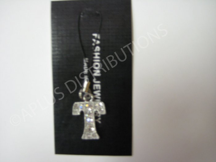 NEW Crystal Cell Phone Charm-  Big Letter �T� Regular