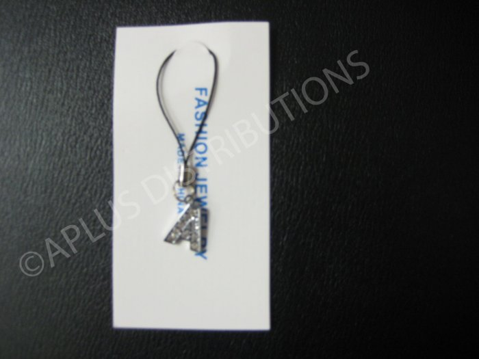 NEW Crystal Cell Phone Charm-  Small Letter �A� Regular