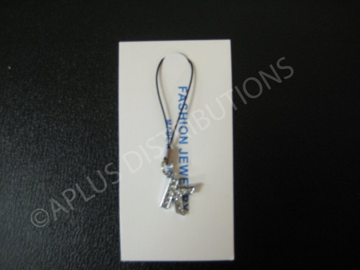 NEW Crystal Cell Phone Charm-  Small Letter �K� Regular