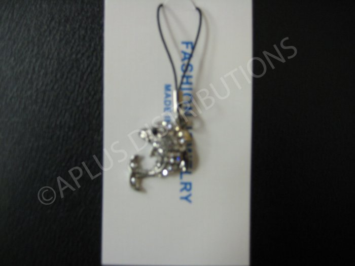 NEW Crystal Cell Phone Charm-  Dolphine Clear Multi-Diamonds