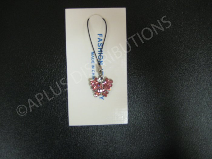NEW Crystal Cell Phone Charm-  Pink Butterfly Mutli-Diamonds