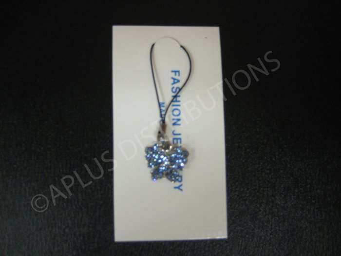 NEW Crystal Cell Phone Charm- Blue Butterfly Mutli-Diamonds