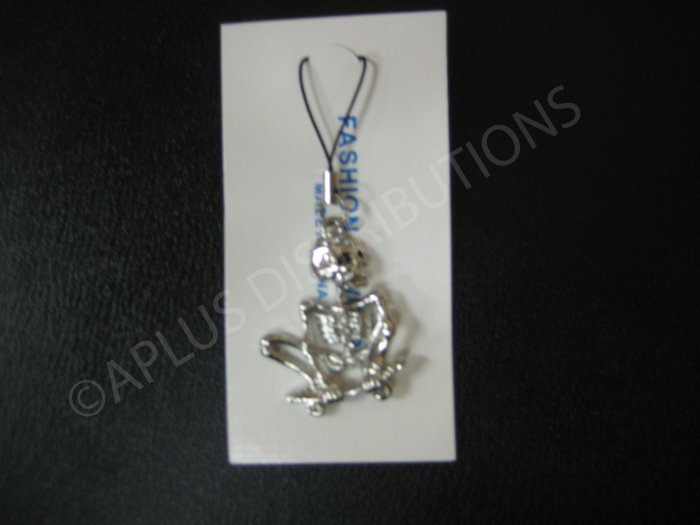 NEW Crystal Cell Phone Charm- Clear Skeleton on a Skate Board Mutli-Diamonds
