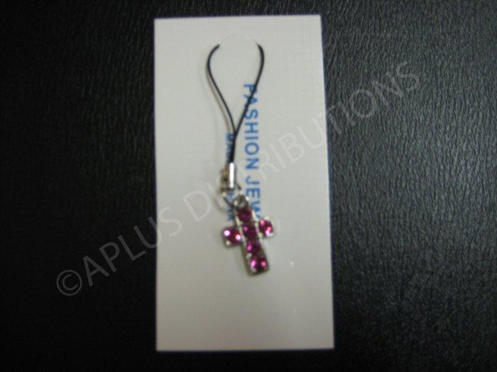 NEW Crystal Cell Phone Charm- Pink Cross Mutli-Diamond