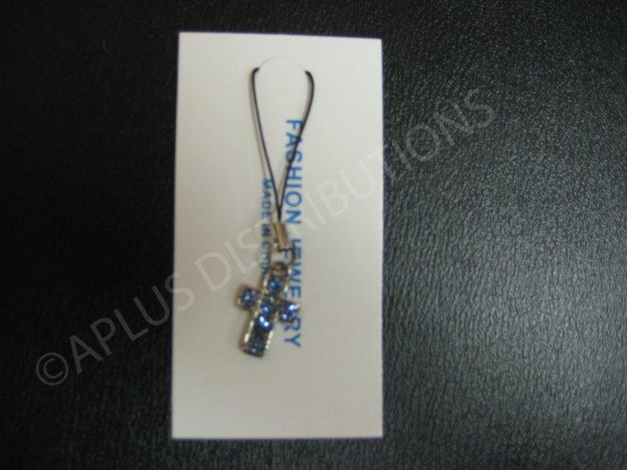 NEW Crystal Cell Phone Charm- Blue Cross Mutli-Diamond