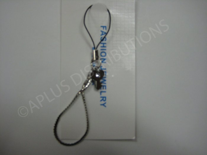 NEW Crystal Cell Phone Charm- Heart Key