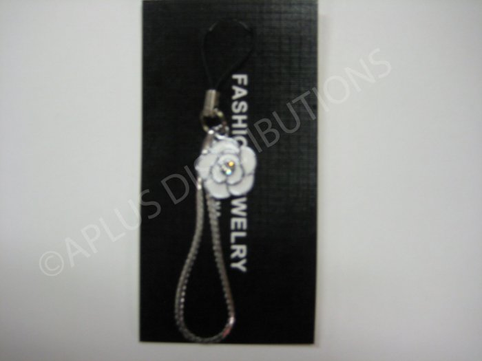 NEW Crystal Cell Phone Charm- White Single Rose
