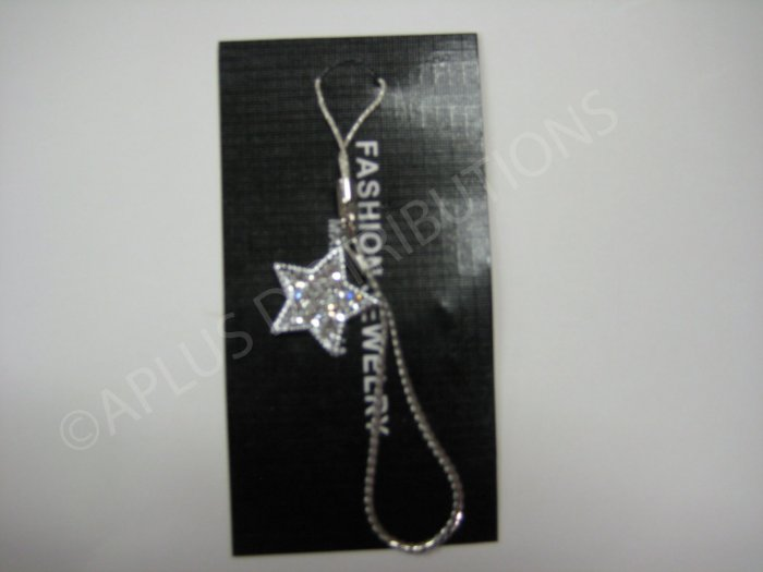 NEW Crystal Cell Phone Charm- Clear Star Multi-Diamonds