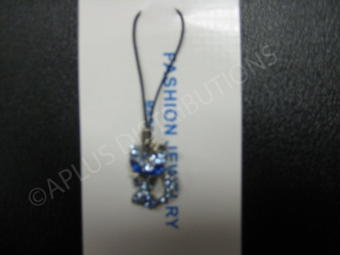 NEW Crystal Cell Phone Charm- Blue Big Eye Cat