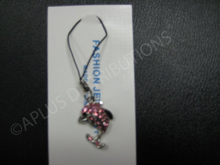 NEW Crystal Cell Phone Charm- Pink Dolphine
