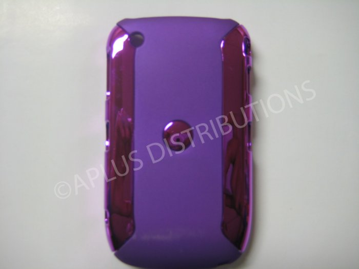 New Purple Metallic Two Piece Design Hard Protective Cover For Blackberry 8520 - (0120)