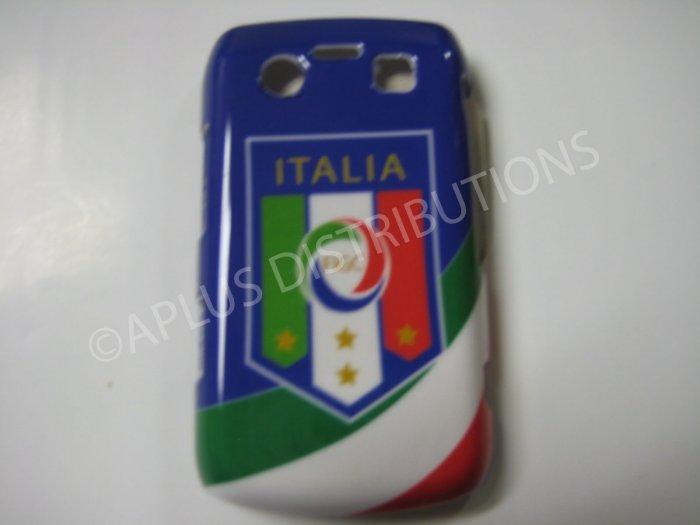 New Blue Italia W/Strips Design Hard Protective Cover For Blackberry 9700 - (0068)