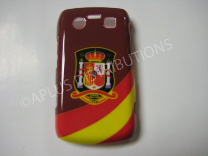 New Red Spain W/Strips Design Hard Protective Cover For Blackberry 9700 - (0050)