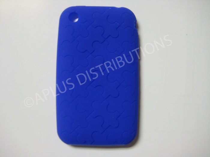 New Blue Puzzle Pattern Silicone Cover For iPhone 3G 3GS - (0029)