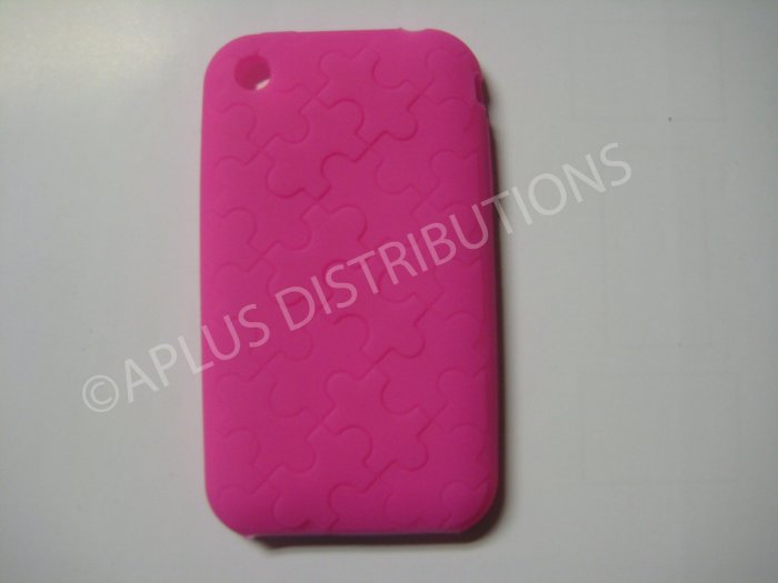 New Hot Pink Puzzle Pattern Silicone Cover For iPhone 3G 3GS - (0028)