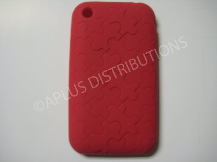 New Red Puzzle Pattern Silicone Cover For iPhone 3G 3GS - (0032)