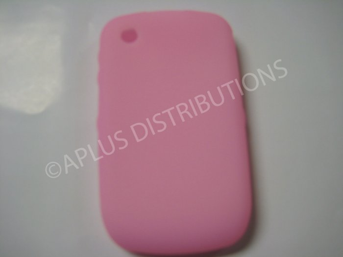 New Pink Solid Color Silicone Cover For Blackberry 8520 - (0153)