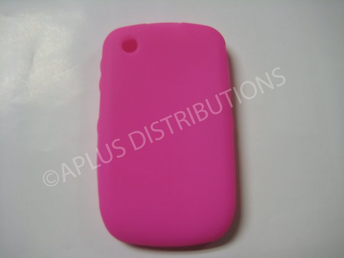 New Hot Pink Solid Color Silicone Cover For Blackberry 8520 - (0158)