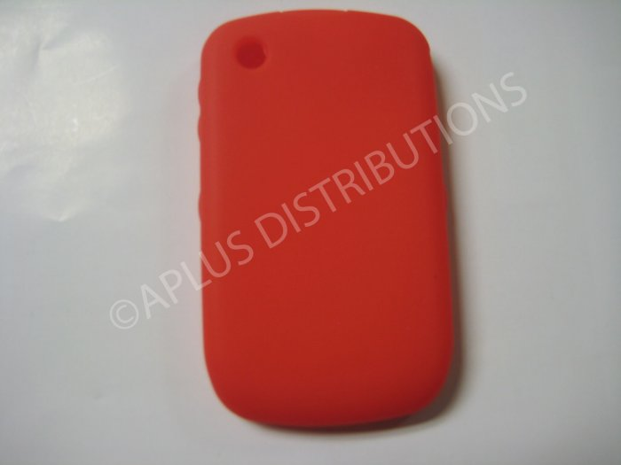 New Red Solid Color Silicone Cover For Blackberry 8520 - (0155)