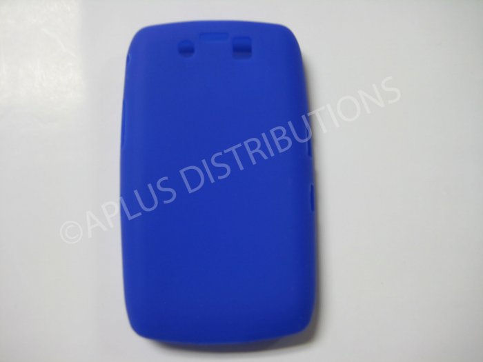 New Dark Blue Solid Color Silicone Cover For Blackberry 9500 - (0154)