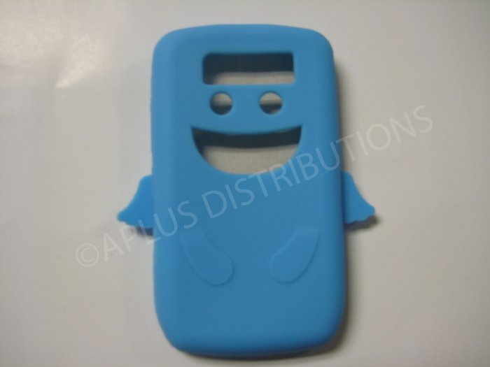 New Light Blue Angel Design Silicone Cover For Blackberry 8900 - (0184)