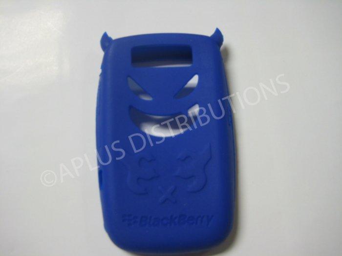 New Dark Blue Devil Design Silicone Cover For Blackberry 8900 - (0187)
