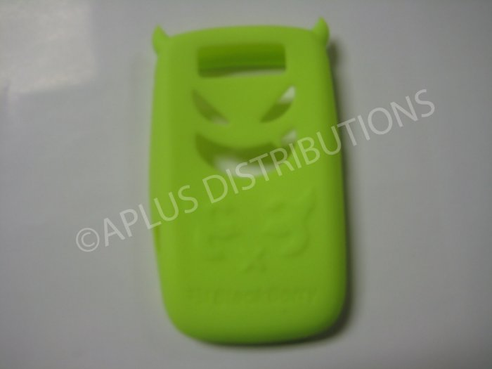 New Lime Green Devil Design Silicone Cover For Blackberry 8900 - (0185)