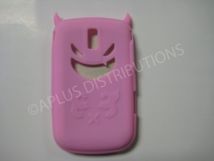 New Pink Devil Design Silicone Cover For Blackberry 9000 - (0022)