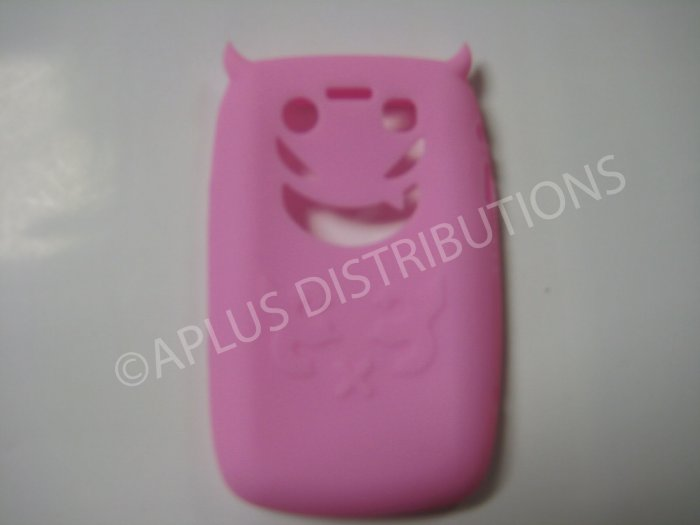 New Pink Devil Design Silicone Cover For Blackberry 9700 - (0022)