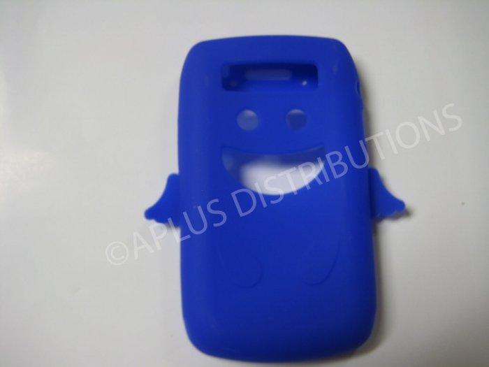 New Dark Blue Angel Design Silicone Cover For Blackberry 9700 - (0192)