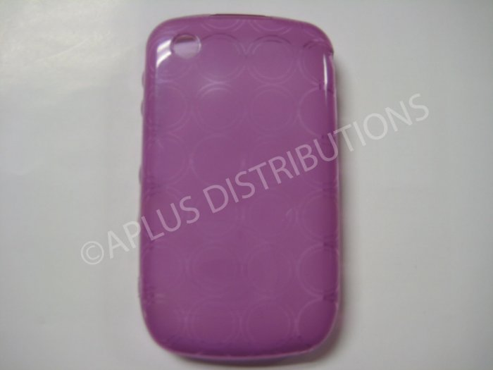 New Purple Transparent Multi-Circles TPU Cover For Blackberry 8520 - (0098)